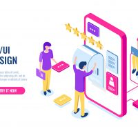UX UI Design, mobile development application, user interface building, mobile phone screen, people work and help together, programming for smartphone, isometric flat vector illustration